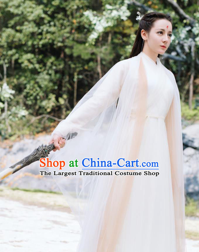 Chinese Ancient Fox Goddess Bai Fengjiu Dress Drama Sansheng Sanshi Pillow Eternal Love of Dream Costume and Headpiece Complete Set