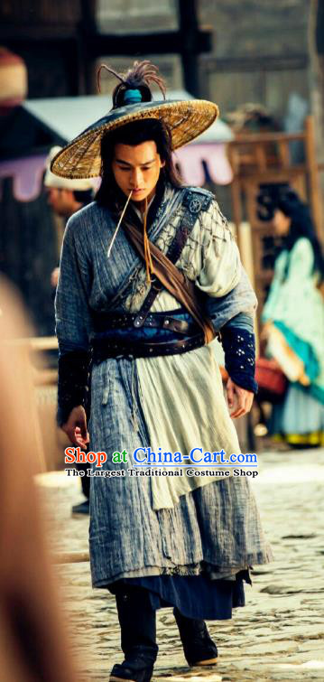 Drama Hero Dream Chinese Ancient Han Dynasty Civilian Swordsman Han Xin Costume and Headpiece Complete Set