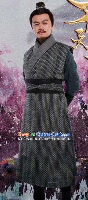 Drama The Dark Lord Chinese Ancient Ming Dynasty Swordsman Costume and Headpiece Complete Set