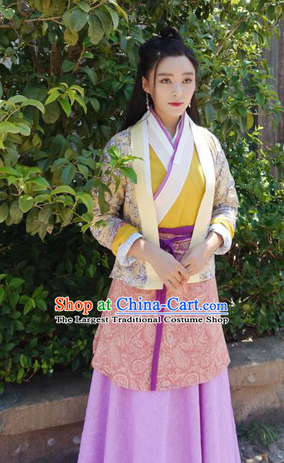 Chinese Ancient Ming Dynasty Civilian Lady Tao Tao Dress Historical Drama The Dark Lord Costume and Headpiece for Women