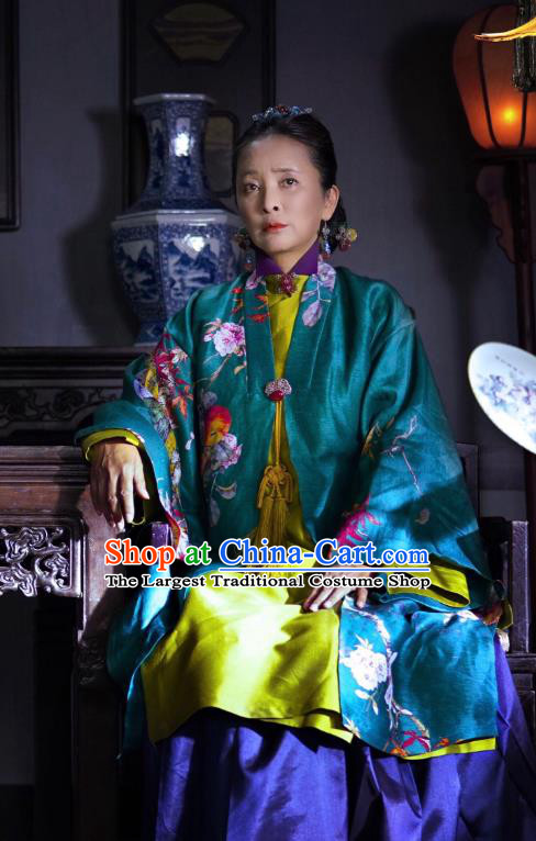 Chinese Ancient Ming Dynasty Noble Dame Yang Dress Historical Drama The Dark Lord Costume and Headpiece for Women