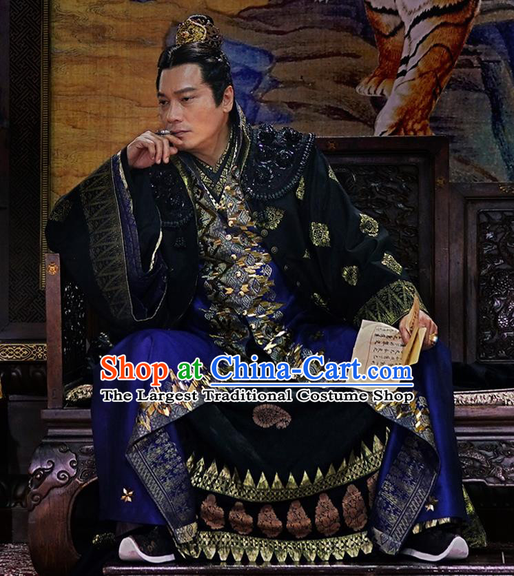 Drama The Dark Lord Chinese Ancient Ming Dynasty Official Yang Yinglong Costume and Headpiece Complete Set
