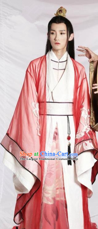 Drama Men with Sword Chinese Ancient Royal Prince Murong li Hanfu Costumes and Hair Accessories for Men