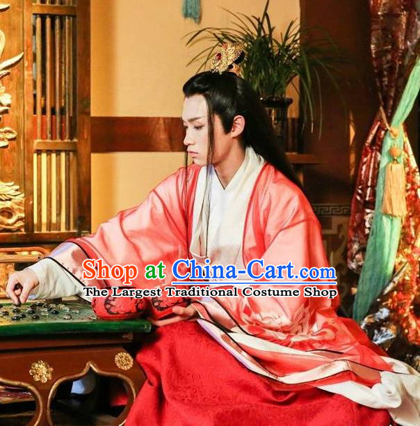 Chinese Ancient Royal Prince Murong li Hanfu Drama Men with Sword Costumes and Hair Accessories for Men