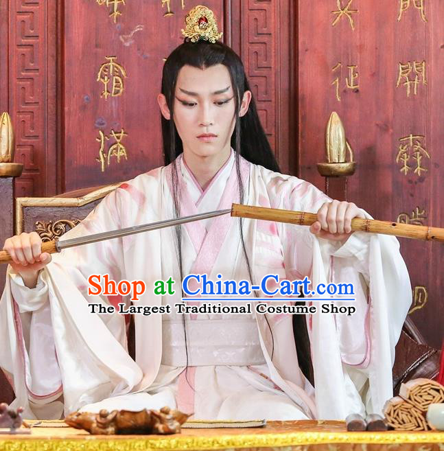 Chinese Ancient Prince Murong li White Hanfu Robe Drama Men with Sword Costumes and Hair Accessories for Men