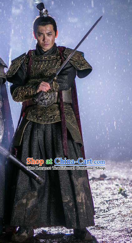 Chinese Ancient General Armor Drama Mengfei Comes Across Bu Yue Costumes and Hair Crown