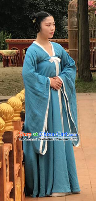 Chinese Ancient Court Maid Hanfu Dress Historical Drama Mengfei Comes Across Palace Lady Costumes and Hair Accessories