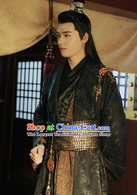 Drama Jueshi Qianjin Chinese Ancient Prince Zhong Wumei Costume and Headpiece Complete Set