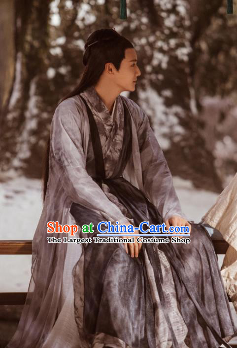 Chinese Ancient Musician of Li Hanfu Clothing and Hair Pin Drama Love of Thousand Years Fu Jiuyun Costumes