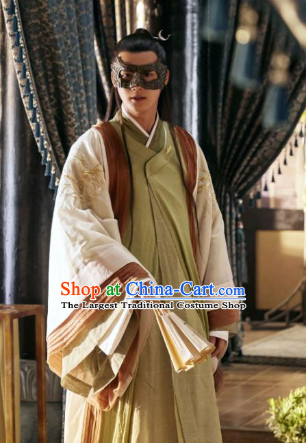 Chinese Ancient Scholar Hanfu Clothing and Hair Pin Drama Love of Thousand Years Musician of Li Fu Jiuyun Costumes