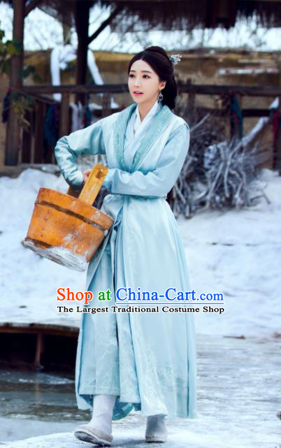 Chinese Ancient Hanfu Dress and Hair Accessories Historical Drama Love of Thousand Years Across Di Nv Costumes
