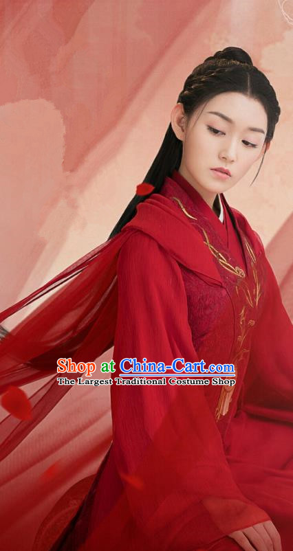 Chinese Ancient Female Swordsman Tan Chuan Red Hanfu Dress and Hair Accessories Historical Drama Love of Thousand Years Across A Man Costumes