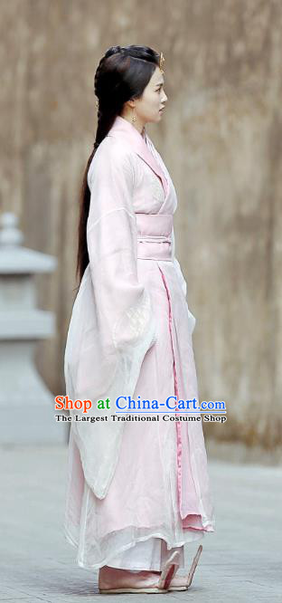 Chinese Ancient Zhou Dynasty Pink Hanfu Dress Historical Drama King Is Not Easy Court Maid Da Xi Costumes and Headwear