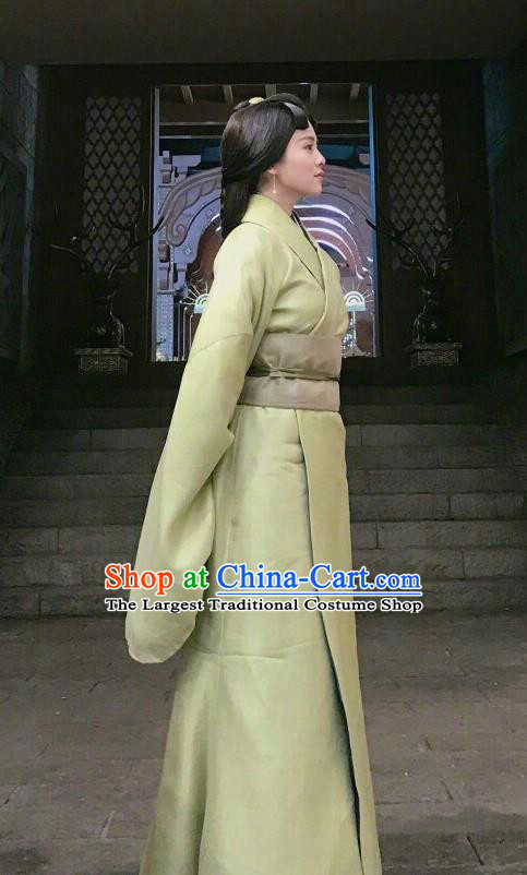 Chinese Ancient Zhou Dynasty Palace Lady Hanfu Dress Historical Drama King Is Not Easy Court Maid Da Xi Costumes and Headpiece