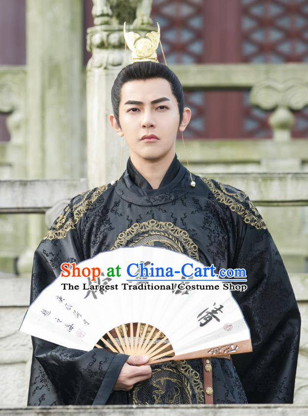 Chinese Ancient Emperor Imperial Robe Drama Mengfei Comes Across Wen Lou Black Costumes and Golden Hair Crown