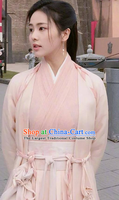 Chinese Ancient Zhou Dynasty Pink Hanfu Dress Historical Drama King Is Not Easy Swordswoman Da Xi Costumes and Hairpin