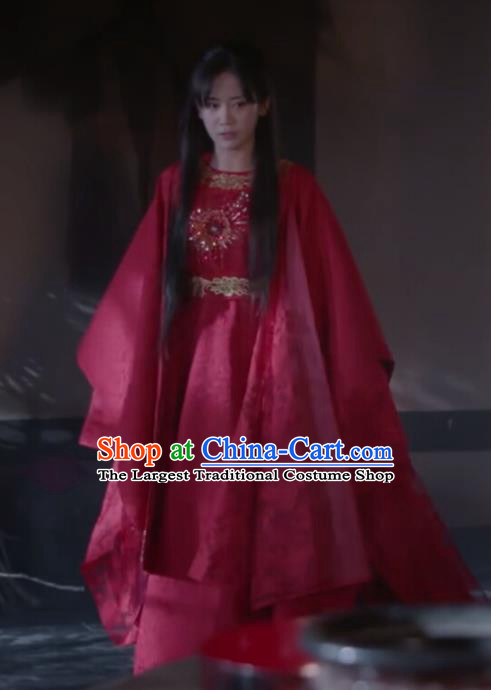 Chinese Ancient Princess Consort Lin Luojing Red Dress Historical Drama Jueshi Qianjin Costume and Headpiece for Women