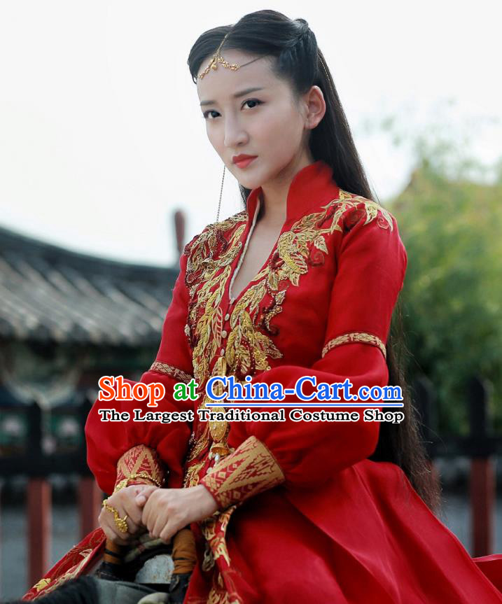 Chinese Ancient Ming Dynasty Female Swordsman Tian Miaowen Red Dress Historical Drama The Dark Lord Costume and Headpiece for Women