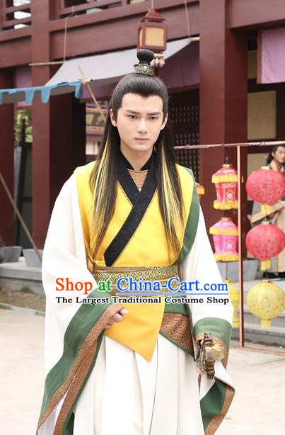 Drama Men with Sword Chinese Ancient Scholar Zhong Kunyi Costume and Headpiece Complete Set