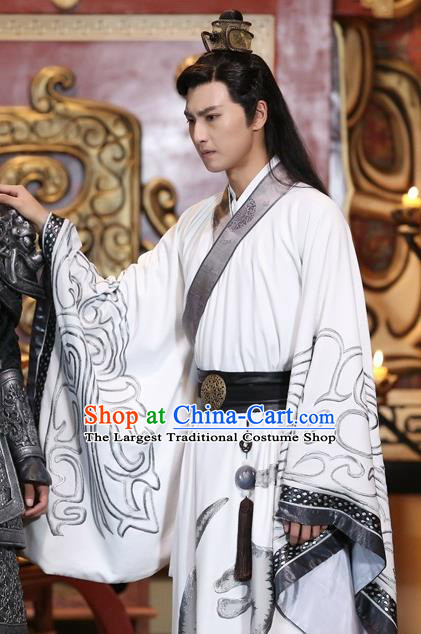 Drama Men with Sword Chinese Ancient King Jian Bin Costume and Headpiece Complete Set