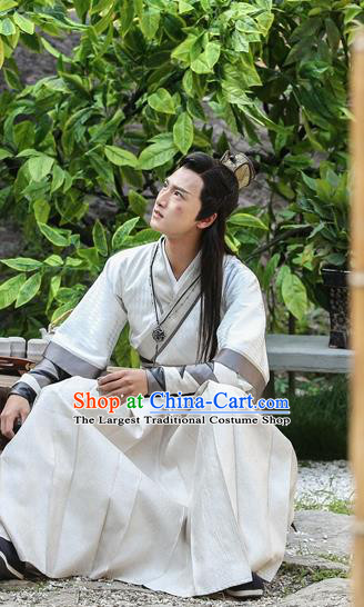 Drama Men with Sword Chinese Ancient Lord King Jian Bin Costume and Headpiece Complete Set