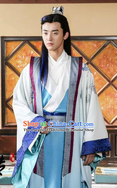 Drama Men with Sword Chinese Ancient General Swordsman Gongsun Qian Costume and Headpiece Complete Set