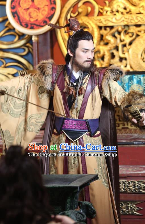 Drama Men with Sword Chinese Ancient Swordsman King Yu Qing Costume and Headpiece Complete Set