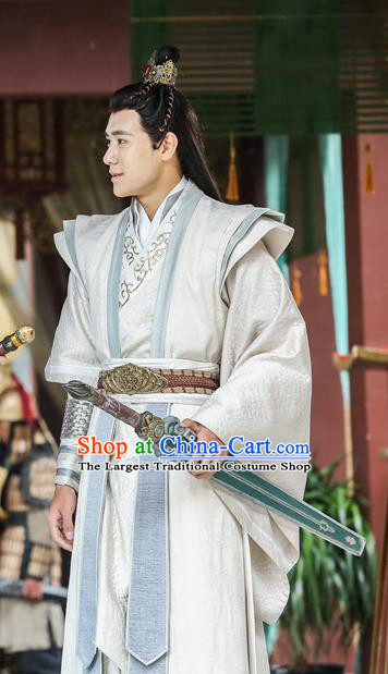 Drama Men with Sword Chinese Ancient Swordsman Costume and Headpiece Complete Set