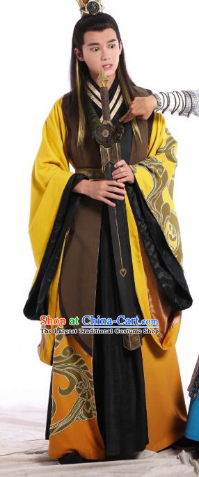 Drama Men with Sword Chinese Ancient Swordsman Zhong Kunyi Costume and Headpiece Complete Set
