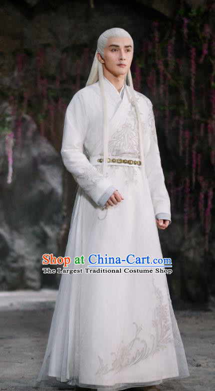 Chinese Ancient God Emperor Dong Hua Drama Sansheng Sanshi Pillow Eternal Love of Dream Costume and Headpiece Complete Set