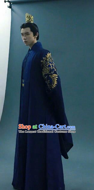 Chinese Ancient Zhou Emperor Clothing and Jade Hairpin Drama King Is Not Easy Ji Man Apparel Costumes and Hair Crown