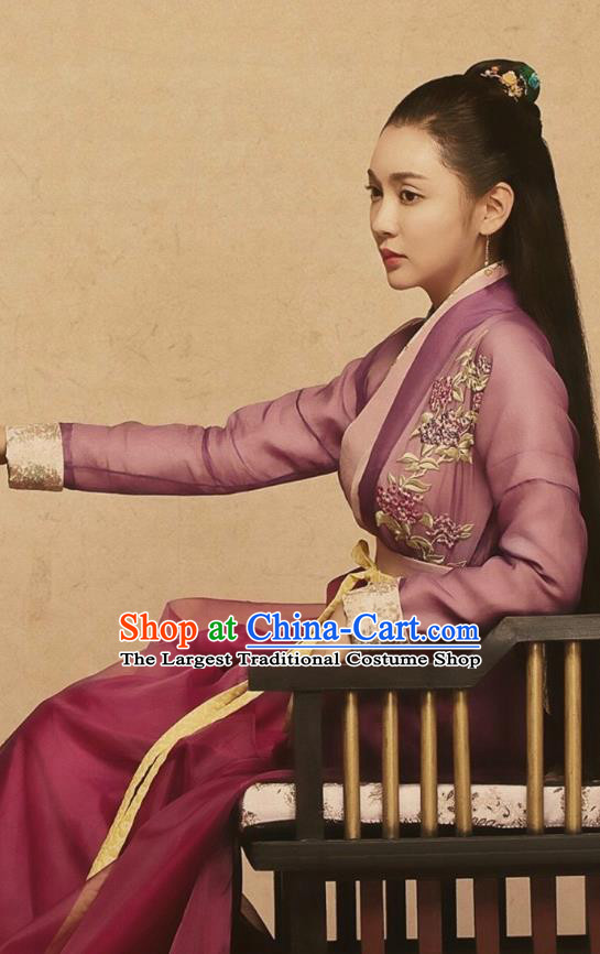 Chinese Ancient Female Swordsman Purple Dress Historical Drama Pingli Fox Qiong Hua Costumes and Headwear