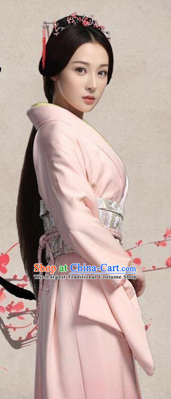 Chinese Ancient Princess Pink Dress Historical Drama Pingli Fox Yuan Tao Costumes and Hair Jewelries