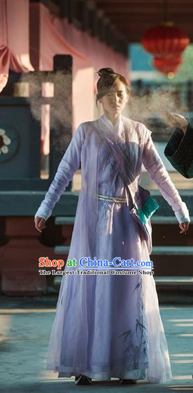 Chinese Ancient Female Swordsman Lilac Dress Historical Drama Pingli Fox Zheng Xuejing Costumes and Hair Accessories