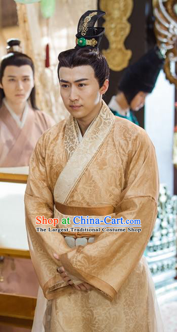 Chinese Ancient Crown Prince Clothing and Jade Hairpin Drama Pingli Fox Mu Suyu Apparel Costumes and Hair Crown