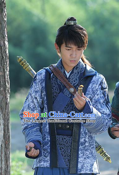 Chinese Ancient Young Swordsman Apparel Clothing and Jade Hairpin Drama The Taosim Crandmaster Zhang Ling Costumes and Headwear