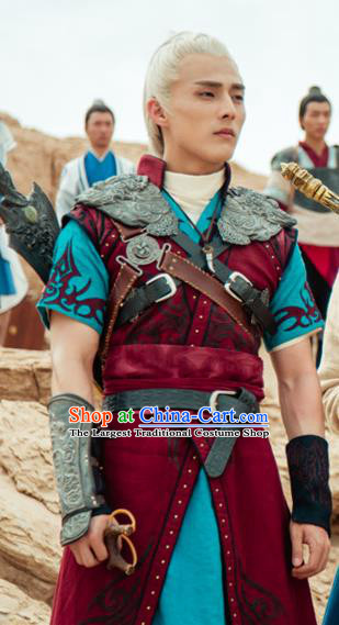 Chinese Ancient King Clothing and Jade Hairpin Drama The Taosim Crandmaster Swordsman Tie Lang Apparel and Headwear