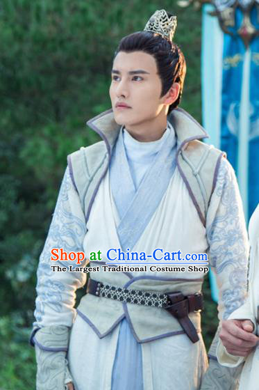 Chinese Ancient Taoist Clothing and Jade Hairpin Drama The Taosim Crandmaster Swordsman Kun Lun Apparel and Hair Crown