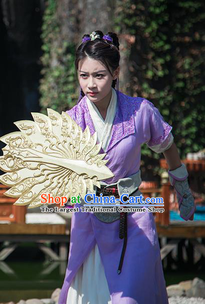 Chinese Ancient Female Swordsman Purple Dress Historical Drama The Taosim Crandmaster Donghuang Xiao Yu Costumes and Hair Accessories