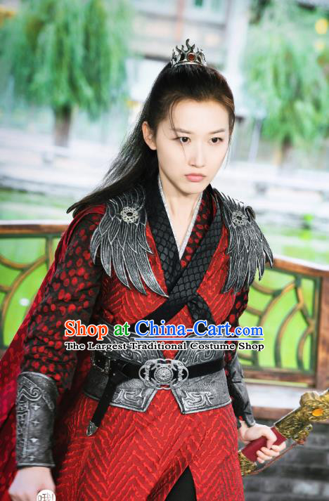 Chinese Ancient Female General Historical Costumes and Hair Accessories Drama Oh My Emperor Wu Shengnan Red Dress
