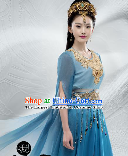 Chinese Ancient Palace Lady Historical Costumes and Hair Crown Drama Oh My Emperor Xia Bing Blue Hanfu Dress