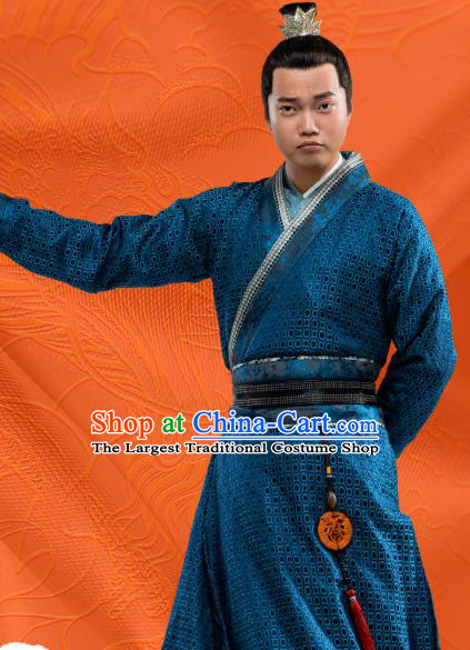 Chinese Ancient Swordsman Blue Clothing and Hairdo Crown Drama Oh My Emperor Costumes