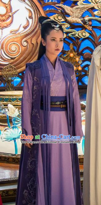 Chinese Ancient Swordsman Costume Historical Drama The Taosim Crandmaster Female Swordsman Lian Bixie Purple Dress and Hair Accessories