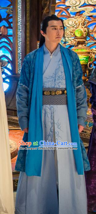 Chinese Ancient Swordsman Blue Hanfu Clothing and Headdress Drama The Taosim Crandmaster Costumes