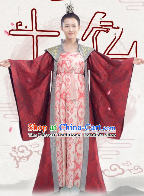 Chinese Ancient Female Swordsman Historical Costumes and Hair Crown Drama Oh My Emperor Chu Shengnan Hanfu Dress