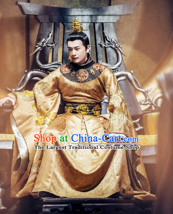 Chinese Ancient Emperor Golden Imperial Robe and Golden Hair Crown Drama Tang Dynasty Tour Li Shimin Costumes