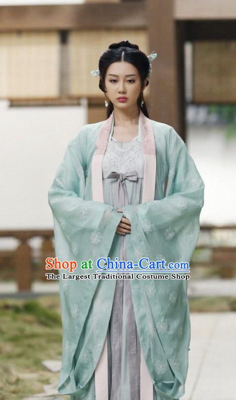 Chinese Ancient Talented Girl Historical Costumes and Hairpins Drama Tang Dynasty Tour Lu Xinyue Blue Hanfu Dress