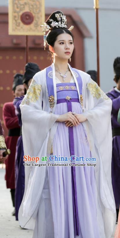 Chinese Ancient Princess Consort Historical Costumes and Hairpins Drama Tang Dynasty Tour Su Wan Purple Hanfu Dress