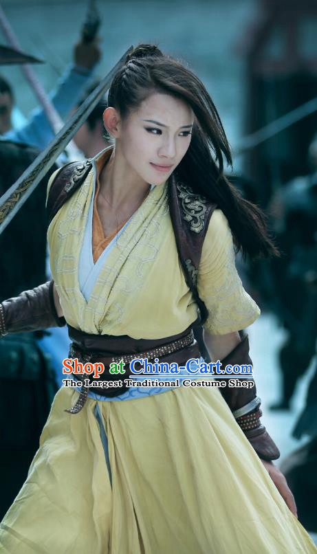 Chinese Ancient Demon Female Swordsman Costume Historical Drama The Taosim Crandmaster Yellow Dress and Headwear