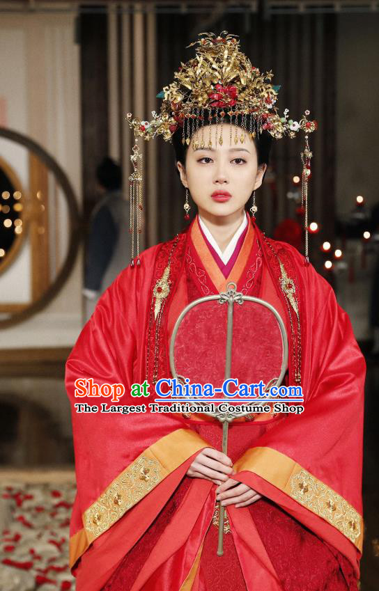 Chinese Ancient Noble Lady Wedding Historical Costumes and Phoenix Coronet Drama Tang Dynasty Tour Lu Xinyue Red Hanfu Dress